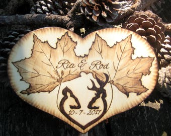 Rustic Wedding Cake Topper with Leaves and Deer or Infinity Sign - Autumn, Camo, Hunting - Wooden Heart  - Fall Cake Topper - Personalizable