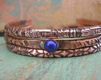 Boho stackable bracelets set of 3 - Ancient Alchemy - copper cuff bracelets, boho jewelry, southwestern bohemian blue lapis layering jewelry