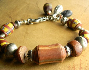African Tribal Bracelet French Cross Yellow Rust Pewter Trade Beads