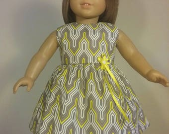 18 inch Doll Clothes Grey Yellow White Zigzag Print Dress will fit like American Girl Doll Clothes