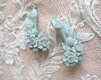 Vintage Carved Celluloid & Rhinestone Flower Earrings ~ Clip On ~ Robins Egg Blue ~ Featherweight