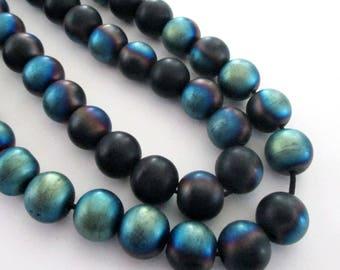 "Dark Tittanium Onyx Round Beads - Mystic Blue Black Smooth Beads - Matte Metallic Coating - Center Drilled - 10mm - 16"" Strand - DIY Jewelry"