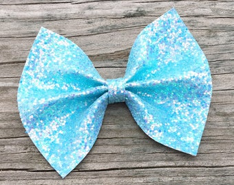 Sky Blue Glitter Hair Bow, Glitter Bows, Light Blue Hair Bow, Sparkly Hair Bows, Light Blue Glitter Bow, Glitter Hair Clips, Blue Hair Bow