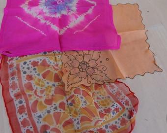 Handkerchiefs - Three  Beautiful  Handkerchiefs sheer vintage handkerchiefs in chiffon