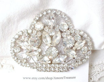 Wedding Hair Comb Art Deco Hairpiece, Marquise Crystal Gatsby Fan 1930s Bridal Hair Accessory, Large Vintage Downton Abbey Headpiece