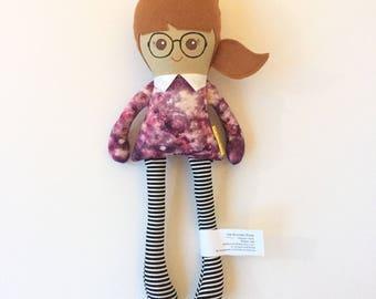 Fabric Doll Rag Doll Modern Cloth Doll Plush Doll Baby Doll Sweetie Doll Black Glasses Galaxy Top Brown Hair Her Bunnies Three