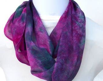 Infinity Scarf, Hand dyed Silk Scarf,  Silk Chiffon Scarf, Gift for Her, Ready to ship, 57 x 10 inches, SallyAnnesSilks on Etsy S159