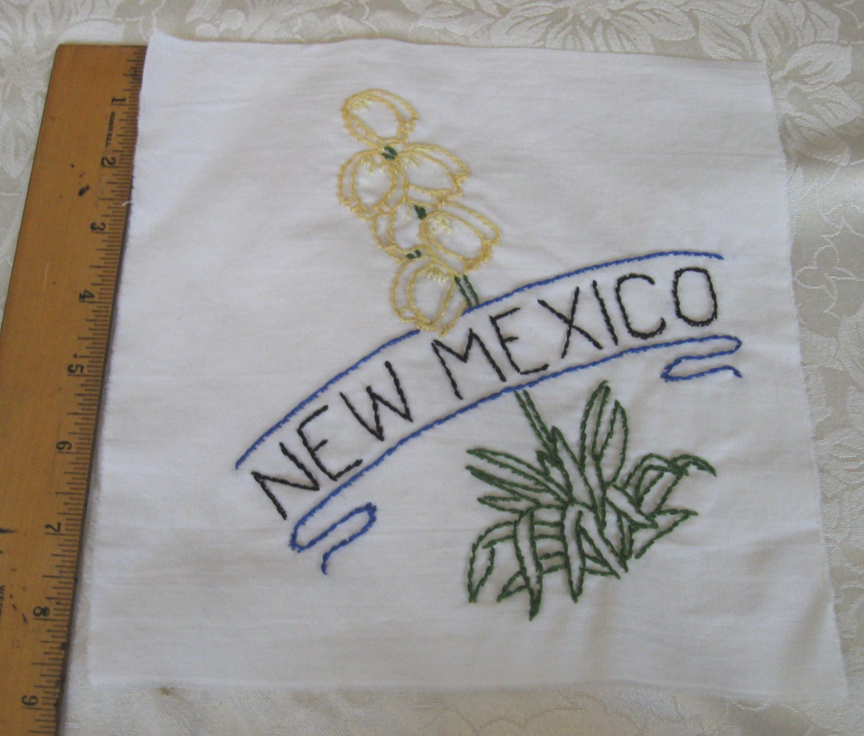 Vintage Quilt Block Piece State Flower New Mexico Hand