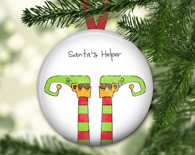 Elf Christmas ornament - elf legs ornament - kids Christmas ornament - keepsake ornaments - baby 1st Christmas ornament - ORN-51