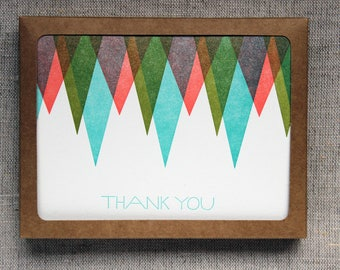 Set of 6 Letterpressed Geometric 'Thank You' Cards