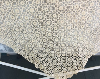Vintage Crocheted Tablecloth, cream, rectangular hand made