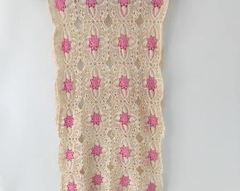 Vintage Crocheted Dresser Scarf, Runner, Pink, Ivory, cream