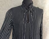 Vintage Tie Neck Shirt, Black 80's Pussy Bow Blouse, Black 80's Blouse, Black and White, Sheer, Striped, Women's Size  Small to Medium