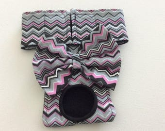 Female Dog Diaper / Panties - Nappies - Britches - Pink Black, Gray and White Chevron   - Available in all Sizes