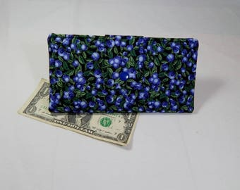 Quilted Blue Wallet, Blueberry, Womans Fabric Wallet, Made in Maine