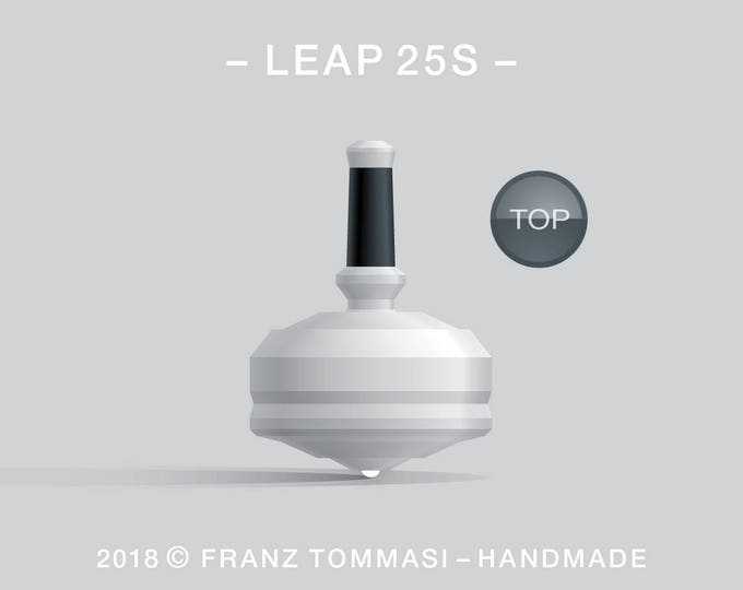 LEAP 25S White – Precision handmade spin top with ceramic tip and integrated rubber grip