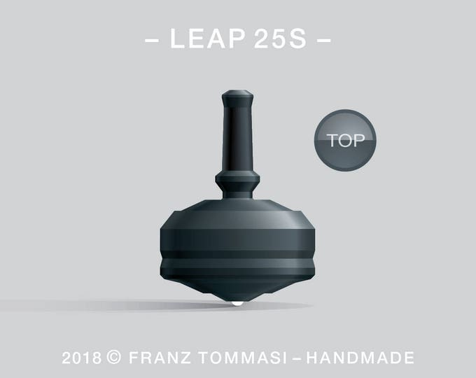 LEAP 25S Black – Precision handmade spin top with ceramic tip and integrated rubber grip