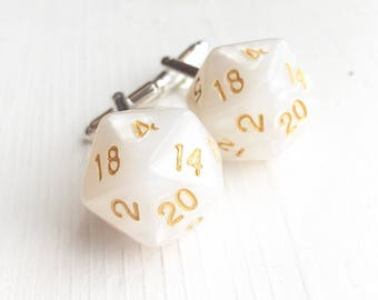Shimmery White and Gold D20 Cufflinks / D&D Cufflinks Wedding Groom Groomsmen Nerd Dungeons sns Dragons Polyhedral Dice Larp Themed Best Man