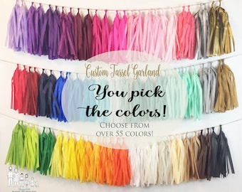Tassel Garland Tissue Paper Tassels Garland Kit Set of 6 to 50 Choose your Colors and quantity