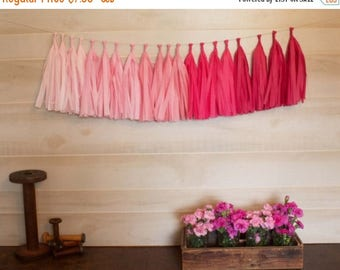 ON SALE TODAY Assembled Pretty in Pink Garland Tissue Paper Tassels Garland Kit Choose your  quantity Sets of 6 to 50