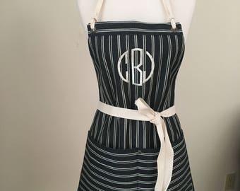 Apron Woman Monogrammed  Striped Denim Indigo