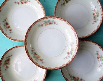 Vintage Dessert Bowls Diamond China Floral Vintage Set of Five