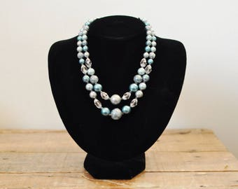 Vintage Blue Beaded Double Strand Necklace Japan Ice Blue Mid Century Jewelry