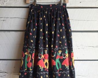 Vintage 1950s novelty print skirt • vintage honky tonk skirt • 50s circle skirt