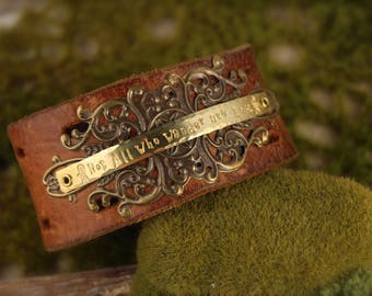 Not All Who Wander Are Lost Leather Cuff Bracelet