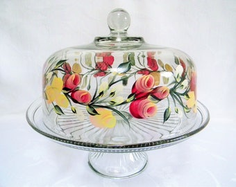 Cake dish , glass Cake dish, covered cake dish, cake dish with Roses, painted cake dish, punch bowl