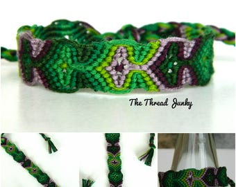 Sleeping Tikis/Medallions Knotted Green and Purple Friendship Bracelet  -Ready to Ship-