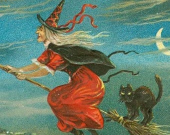 On SALE 25% Off Halloween Witch on Broom - Witch and Black Cat - Witch and Full Moon- Vintage Halloween - Digital Download