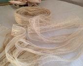 Antique Wedding Laces, Vintage Handmade Lace Trim, 19C Cotton Cream Bobbin Border / 3m Vintage Wedding Dolls & Bears - Something Old