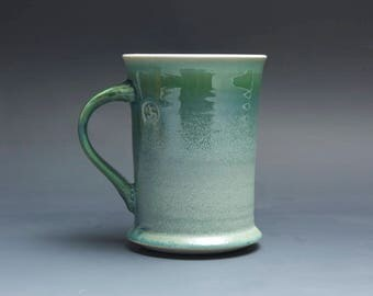 Pottery coffee mug, ceramic mug, stoneware tea cup jade green 12 oz 4035