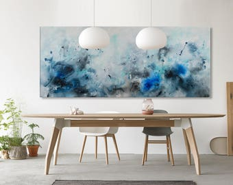 Large Abstract seascape giclee print 72x30 on paper canvas from painting watercolor horizontal 'sea games' 649