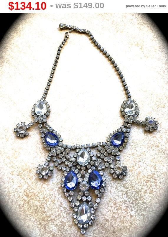 Summer Sale Sapphire Rhinestone Bib Necklace, Art Deco Bib Style