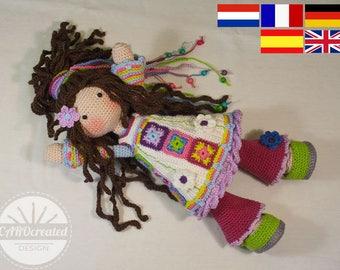 Crochet pattern for doll YUNA, pdf  (Deutsch, English, Nederlands, Español, Français)
