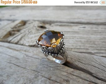 ON SALE Beautiful medeira citrine ring handmade in sterling silver 925