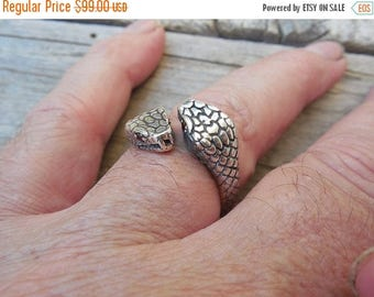 ON SALE Adjustable snake ring handmade and antiqued in sterling silver