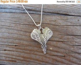 ON SALE Angel wings necklace handmade in sterling silver 925