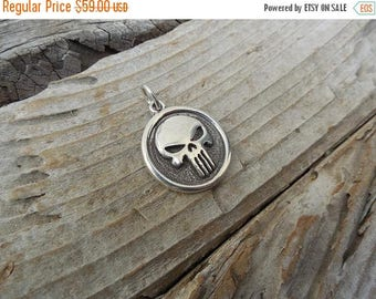 ON SALE Punisher skull pendant handmade in sterling silver 925