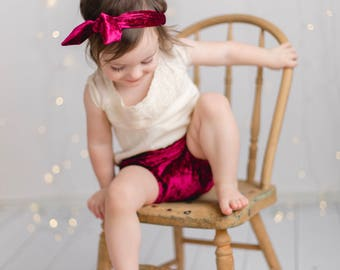 Burgundy or Black Set // crushed velvet diaper cover bloomers baby girl headband and head wrap set