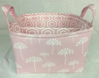 Ready to Ship!! Large Diaper Caddy / Organizer Bin / Pink White Dandelion - Personalization Available