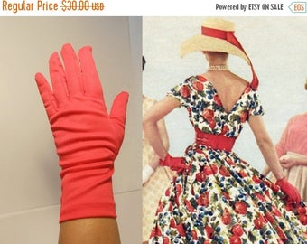 WW2 ENDS SALE With a Cherry On Top - Vintage 1960s Cherry Bright Red Polyester Over the Wrist Gloves - 7/8