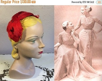 Anniversary Sale 35% Off Twist & Turned About Her Head - Vintage 1950s Lipstick Red Curled Feather Half Hat Fascinator Hat