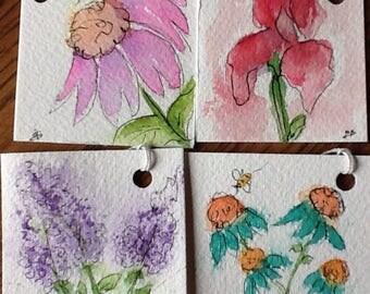Mini Flower Garden Original Watercolor Gift Tags