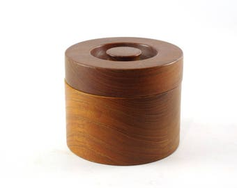 Vintage Teak Box, Small Wooden Box, Round Wooden Canister, Mid Century Modern Decor, Made in Denmark, Wooden Box with Lid