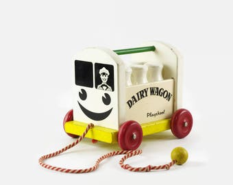 Playskool Dairy Wagon, Vintage Wooden Toy, Wood Wagon with Milk Bottles, Modern Farmhouse Decor, Vintage Pull Toy