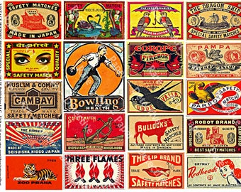 Safety Matchbox Art - Digital Collage Tags, Matchbook Clip Art, Match Box Covers, Matchbook Cover Art, Wood Match Box, Matchbook Label, 158b