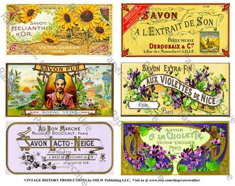 French Savon Bath Soap, Digital Sheet, 6 Antique French Soap Labels, Vintage Floral French Label, Elegant Victorian Collage Clip Art, 520